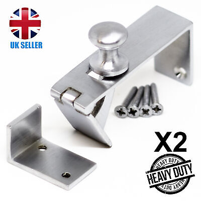 2x Satin CHROME Counter Flap Hinge QUALITY Silver Bar/Shop/Table Catch + Screws • 16.98£