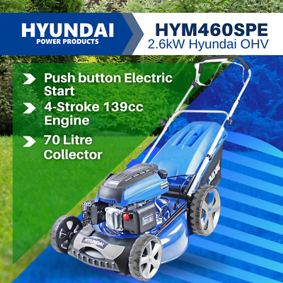 AU730 • Buy Hyundai Lawn Mower 18  Petrol Mower Self Prop Elect Start 139cc  HYM460SPE