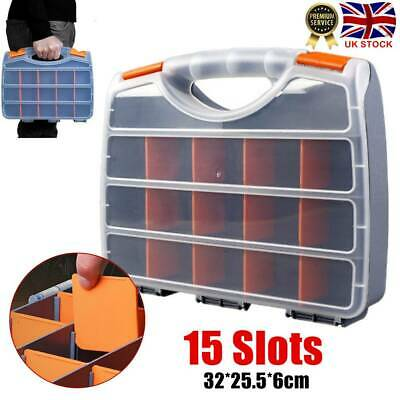Plastic Compartment Tool Box Organiser Storage Cabinet Carry Case Screws Nuts UK • 7.96£
