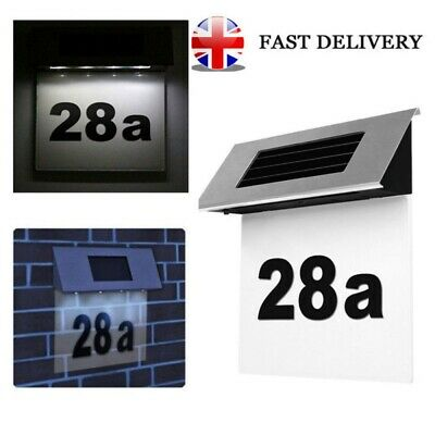 Solar Address Sign Lighted House Number Address Plaque Outdoor LED Light Sign UK • 7.98£