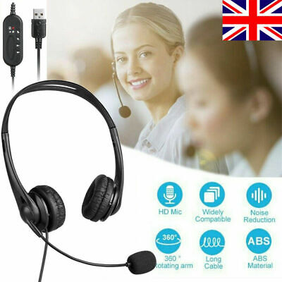 Noise Cancelling Office Headset Binaural Ajust Call Centre Telephone USB W/Mic • 12.39£