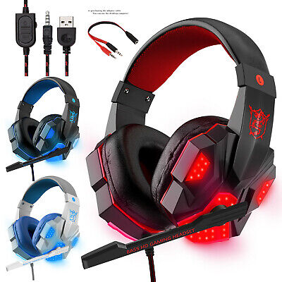 3.5mmGaming Headset Wired LED Headphones Mic For Xbox One/PS4/PC/Nintendo Switch • 5.19£