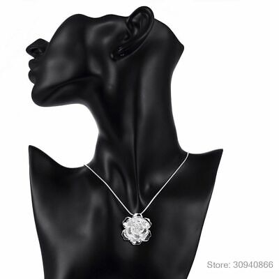 $ CDN19.25 • Buy Women Lotus Necklace Lady Flower Pendant Necklaces 925 Sterling Silver Jewelry