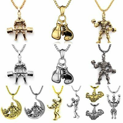 $8.02 • Buy Barbell Dumbbell Chain Necklace Weightlifting Sporty Pendant Men Fitness Jewelry