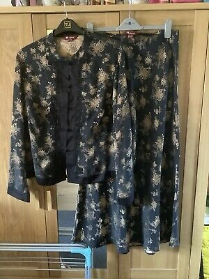 Black & Gold Oriental Jacket Top And Matching Skirt Silk By Monsoon - Size 18/22 • 30£