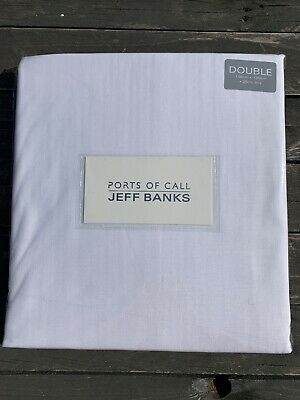 Jeff Banks Ports Of Call Cotton Rich White Double Fitted Bed Sheet Bnwt • 8.99£