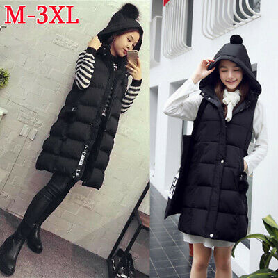Womens Quilted Vest Long Gilet Winter Warm Hooded Waistcoat Outerwear Jackets UK • 15.97£