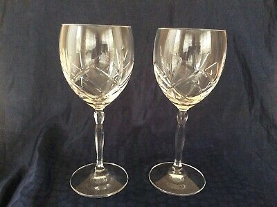 """2 Royal Doulton Crystal Daily Mail Wine Glasses 8 1/8"""" • 20£"""