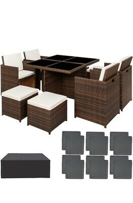 Cube Rattan Garden Furniture Set Chairs Sofa Table Outdoor Patio Wicker 8 Seater • 549£