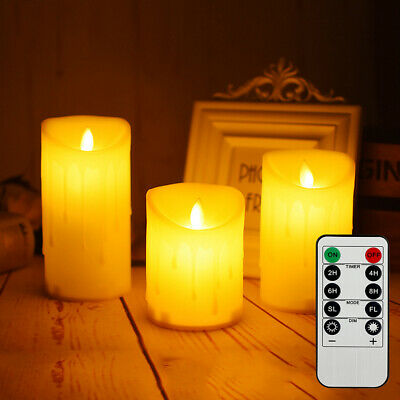 3 Flameless Wax LED Pillar Candles Set Flickering Battery Lights W/ Timer Remote • 14.99£