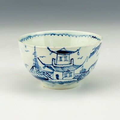 Antique English Pearlware Pottery - Oriental Inspired Blue & White Tea Bowl • 9.99£