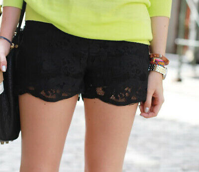 Zara Summer Black Lace Shorts Hotpants Zipper Boho Festival Size S • 19.95£