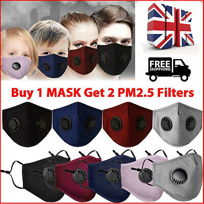 Face Mask Reusable Washable Anti Pollution PM2.5 Two Air Vent With Filter NEW • 5.19£