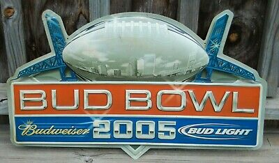 $ CDN52.27 • Buy Budweiser SUPER BOWL Advertising Sign - BUD BOWL 2005 / Bud Light Beer Football