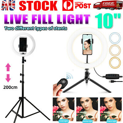 AU35.99 • Buy 10  Phone Selfie Ring Light 2M Stand Dimmable For Makeup Video Shooting Live AU