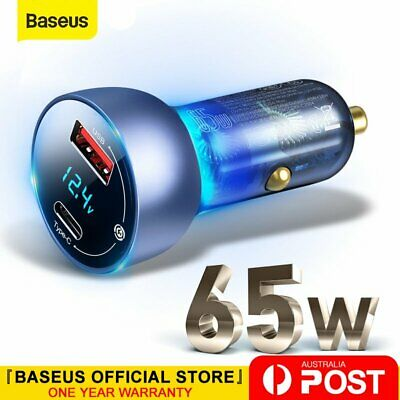 AU32.99 • Buy Baseus 65W Dual USB Type-C PD Car Charger USB C QC4.0 PPS Quick Charging Adapter