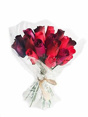 Everlasting Flower Bouquet, 2 Dozen Wooden Roses Mixed REDS 24 Stems Bud Roses • 14.95£