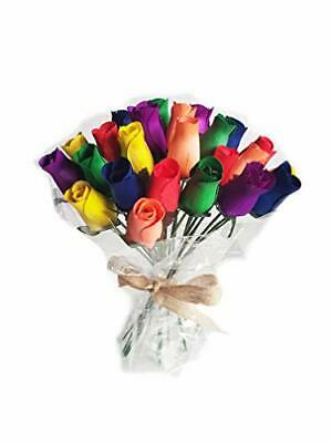 Everlasting Flower Bouquet, 2 Dozen Wooden Roses Mixed RAINBOW 24 Stems Bud Rose • 14.95£
