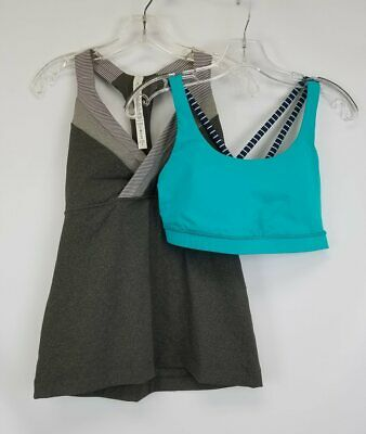 $ CDN15.85 • Buy Lululemon Lot Gray Tank Top & Teal Bra Sz 10
