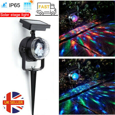 Solar Spot Lights LED Colour Changing Projection Stake Garden Light Outdoor UK • 10.89£