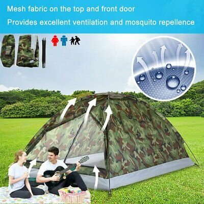 Waterproof 1/2/3-4 Person Camping Tent Camouflage Outdoor Hiking Travel Fishing • 19.89£