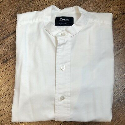 Drake's London White Oxford Tunic Shirt Small • 75£