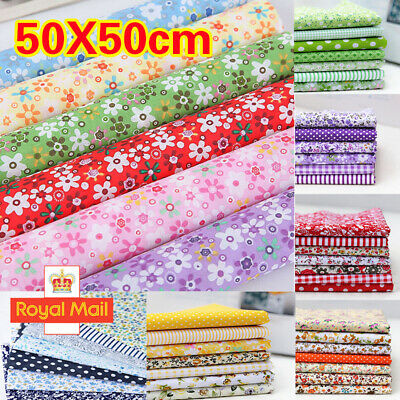 7 Mixed Cotton Fabric Material Sewing Bundle Scraps Offcuts Quilting Mask Making • 3.69£