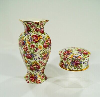 $ CDN12.03 • Buy Royal Winton Grimwades Summertime 1995 Chintz Hexagonal Vase & Round Covered Box
