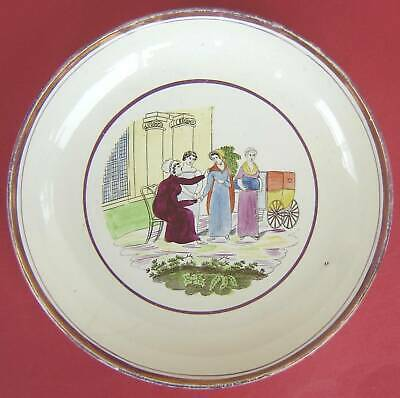 Pearlware Saucer Dish Georgian Ladies C1820 • 25£
