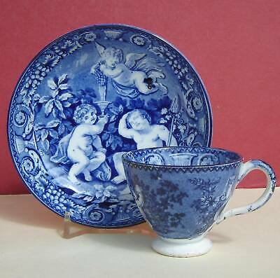 Pearlware Childs Cup & Saucer Blue & White Cherubs C1820 • 35£