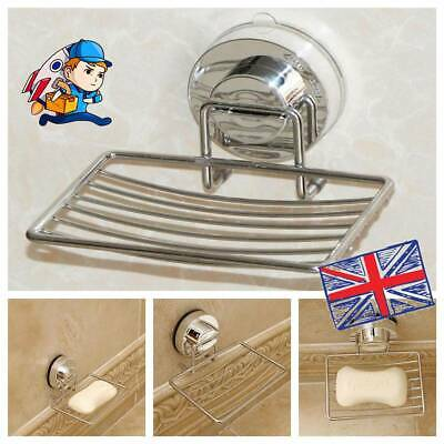 Metal Strong Suction Bathroom Shower Chrome Accessory Soap Dish Holder Tray • 6.99£
