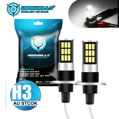 AU22.83 • Buy 2X IRONWALLS H3 LED Headlight Fog Driving Light Bulb DRL Car Lamp Globes 6000K