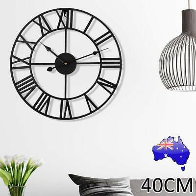 AU36.99 • Buy Large Roman Wall Clock Big Numeral Giant Round Face Outdoor Garden 40cm Silent ⌚