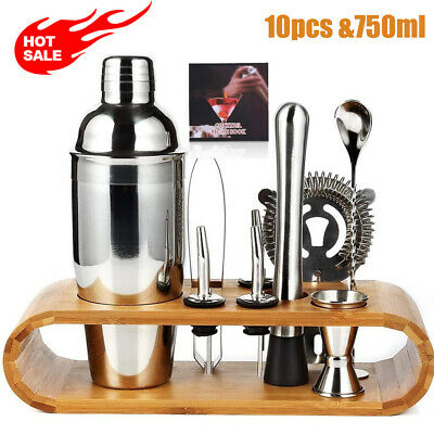 750ML Cocktail Maker Set Shaker Glass Twisted Bar Spoon Strainer Wood Muddler  • 18.99£