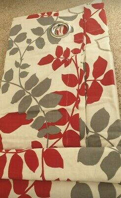 Sandown And Bourne Pair Of Unlined Ring Top Curtains Grey & Red 117 X 183cm NEW • 16.99£