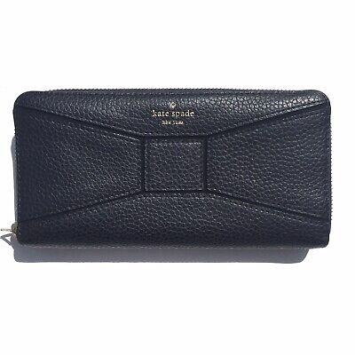 $ CDN65 • Buy Kate Spade Neda Black Pebble Leather Zip Around Clutch Wallet