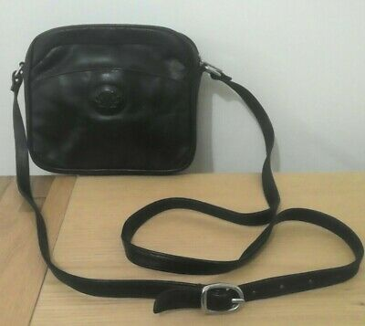 Jane Shilton Small Black Leather Shoulder Bag • 4.25£