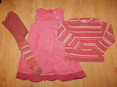 GIRLS ~ 2 3 Yrs ~ MARESE Pink Stripe 3pc OUTFIT Ls TOP Pinafore Dress TIGHTS Set • 0.99£