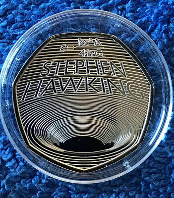 2019 50p STEPHEN HAWKING FIFTY PENCE UK BUNC BLACK HOLE DESIGN In Capsule. • 1.79£