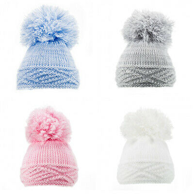 £2.97 • Buy NEW AW20 SOFT TOUCH - CABLE KNIT POM HAT WHITE GREY PINK BLUE NB-6 Month