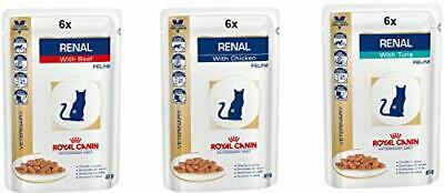 Royal Canin Veterinary Feline Renal Mix Of 6x Tuna 6x Chicken 6x Beef Cat Food • 36.21£