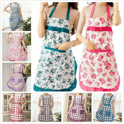 £4.49 • Buy Chef Floral Cooking Baking Apron With Pocket Women Apron