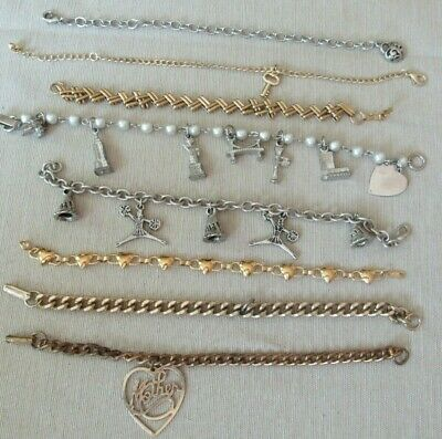 $ CDN6.65 • Buy Vintage To Now Charm Bracelet Lot Of 8, Lia Sophia,Mother, NY, Cheerleader