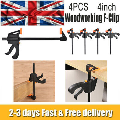 4 X 195mm 4  Wood Working Bar F Clamp Clamps Grip Ratchet Quick Release Squeeze • 10.69£
