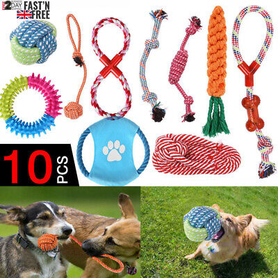 10 Tough Dog Puppy Pet Toy Rope Bundle Teeth Chew Knot Ball Cotton Rope Toys Kit • 8.79£
