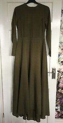 BNWT Khaki Green Fit And Flare Aab Style High Low Maxi Dress Abaya Size 8-10 • 22£