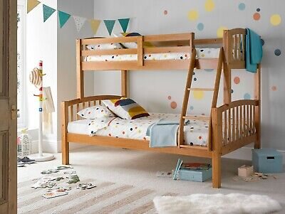 Mayflower Triple Sleeper Solid Wood Pine Bunk Bed With Mattresses Bedroom • 299.99£