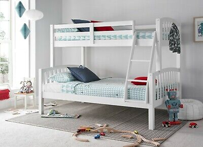 Mayflower White Triple Sleeper Solid Wood Pine Bunk Bed With Mattresses Bedroom • 299.99£