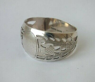 Good Scottish  Thistles  Solid Sterling Silver Napkin Ring 1947/ 28 G • 0.01£