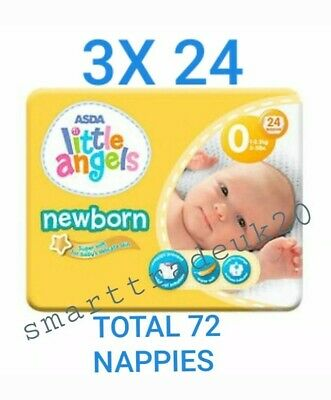ASDA LITTLE ANGELS NEWBORN 3 PACKS OF 24 NAPPIES 2-5lbs NEW SIZE 0 PREMATURE  • 5.89£